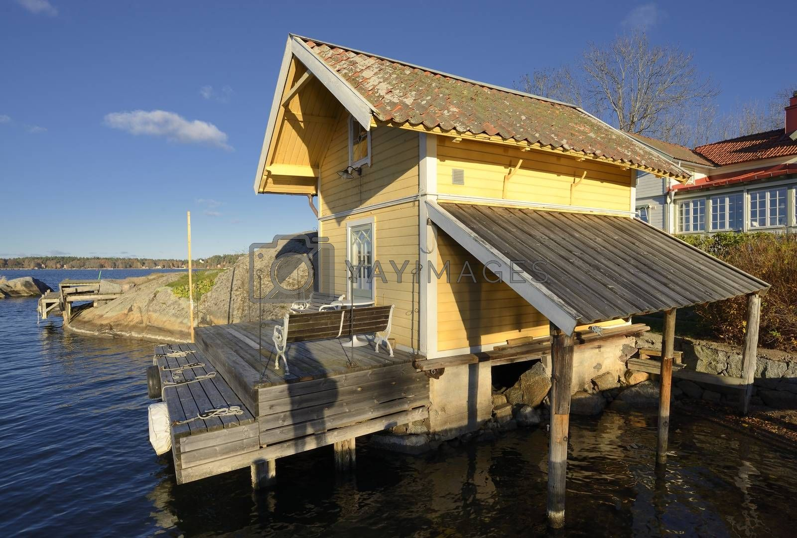 Boathouse in Vaxholm. Vaxholm a Swedish city in Stockholm archipelago.