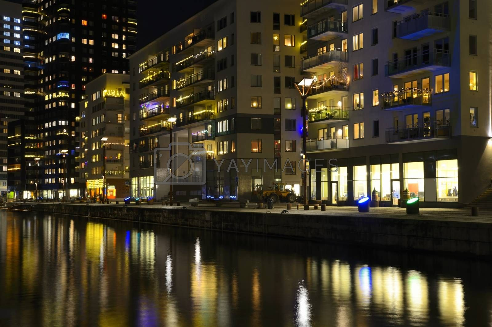 Modern apartment buildings.