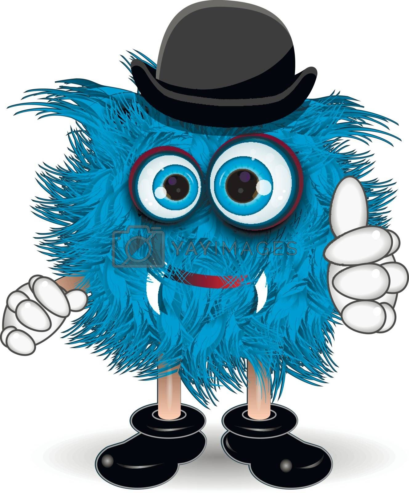 Illustration Blue Monster in the Black Hat