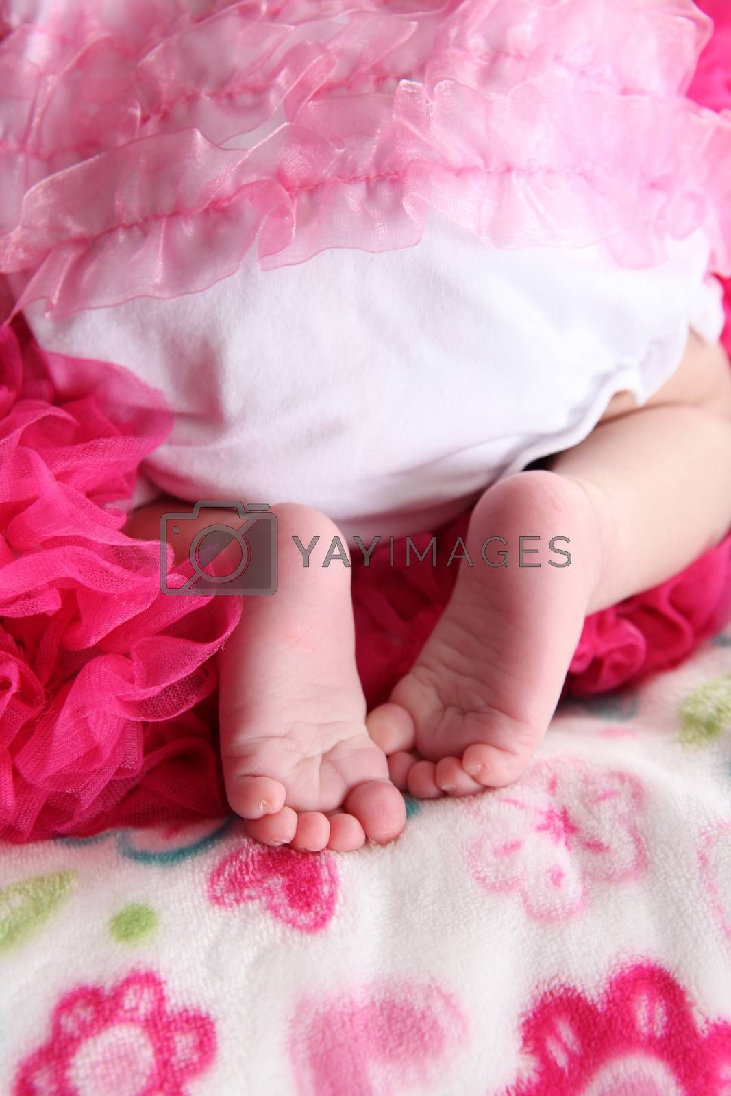Newborn baby girl on a soft blanket