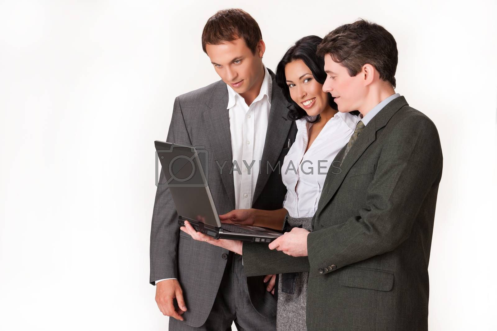 Young woman and two men on isolated background