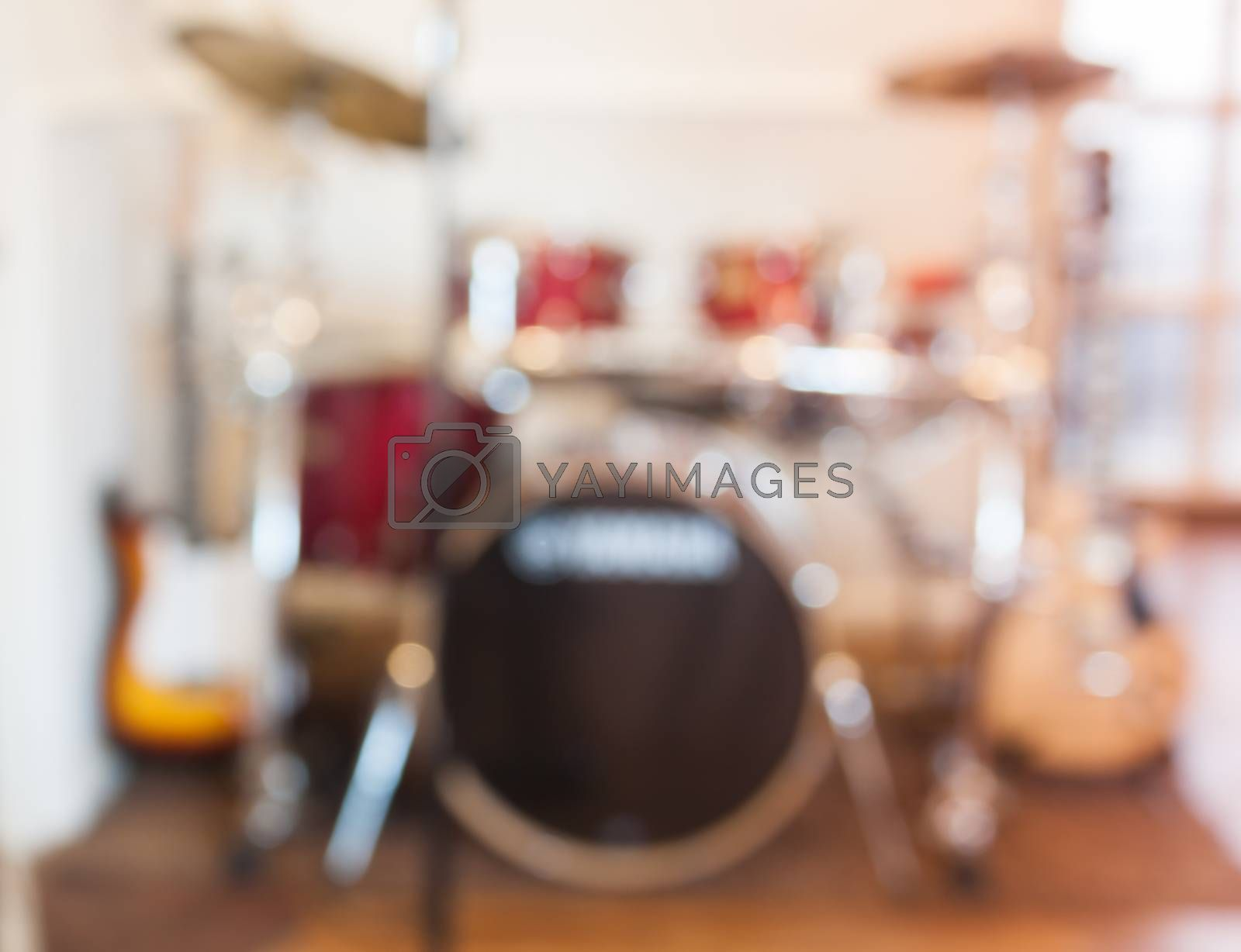 Blur abstract background with drum set, stock photo