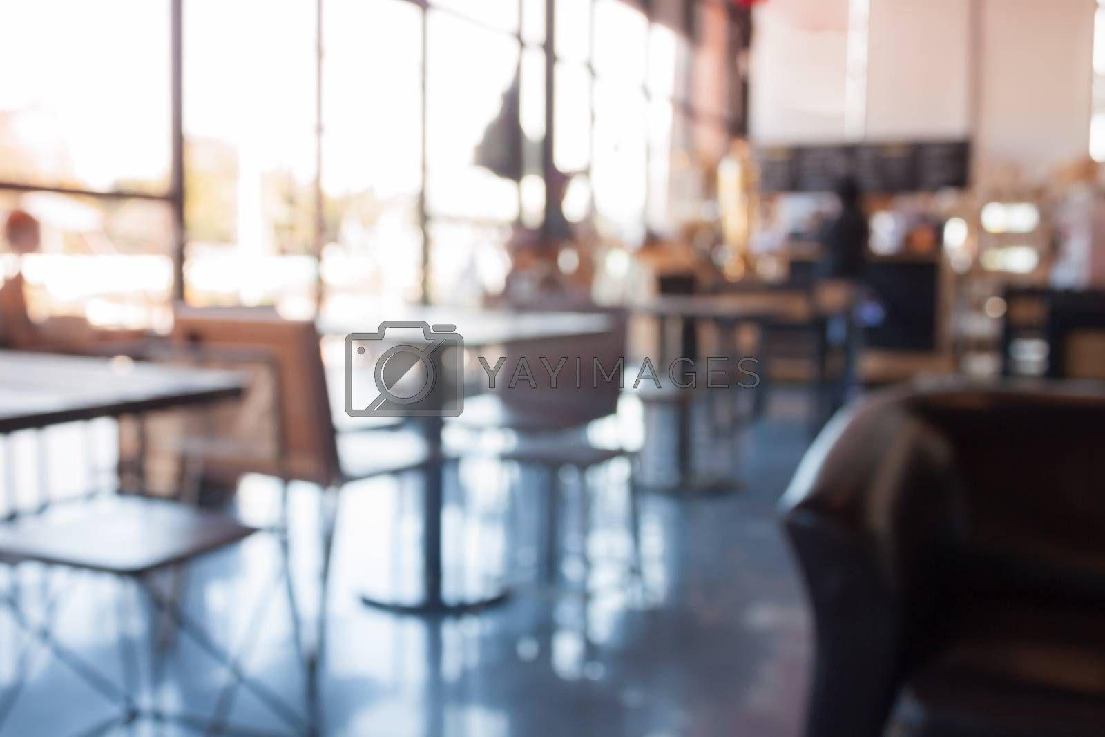 Coffee shop abstract blur background by punsayaporn
