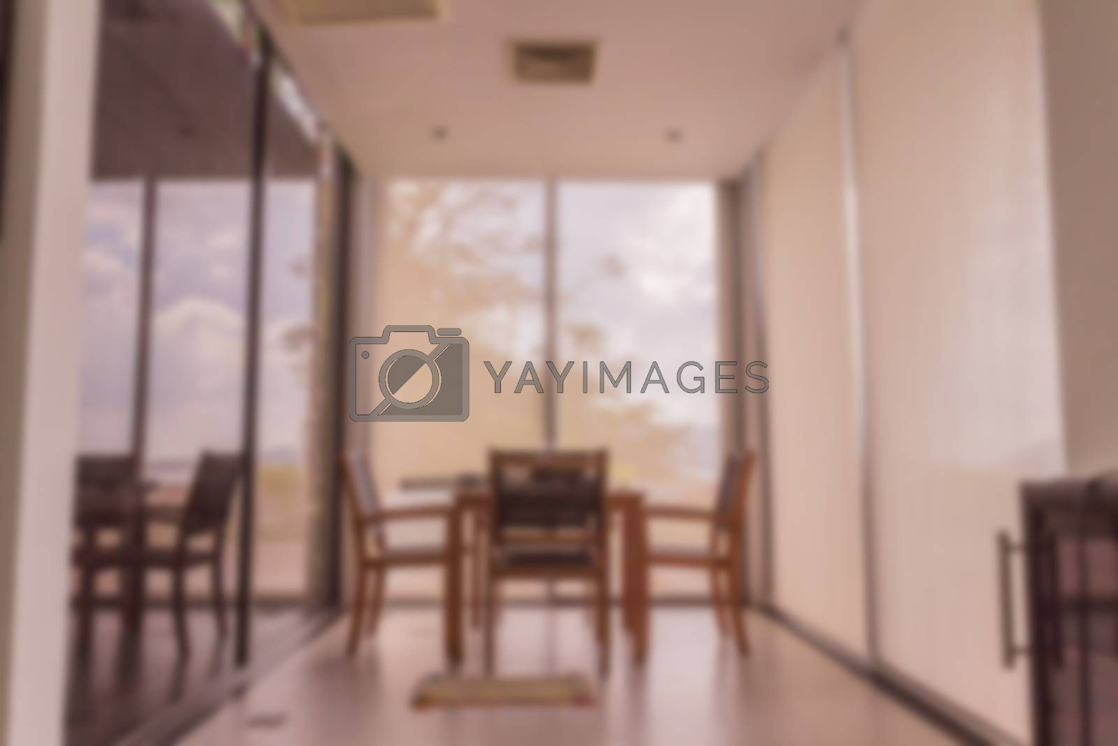 Abstract blur of small dining room sea view for interior of villa