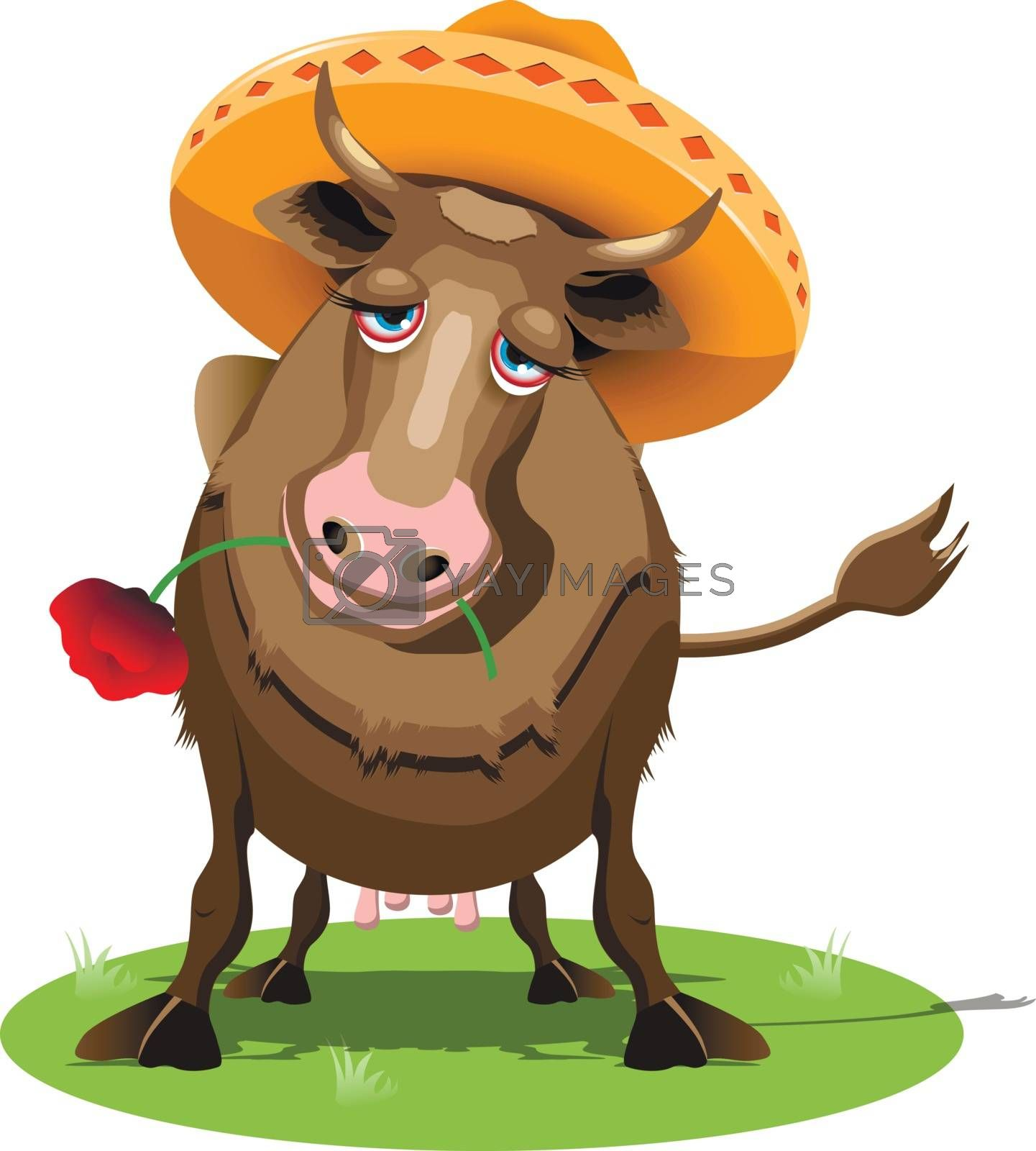 Illustration Cow in a Sombrero with the Red Poppy