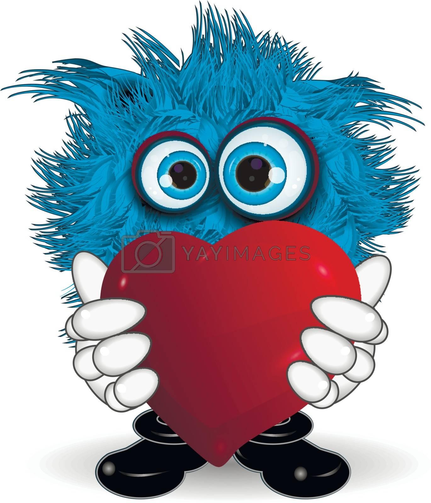 Illustration Blue Monster Keeps Red Symbol Heart