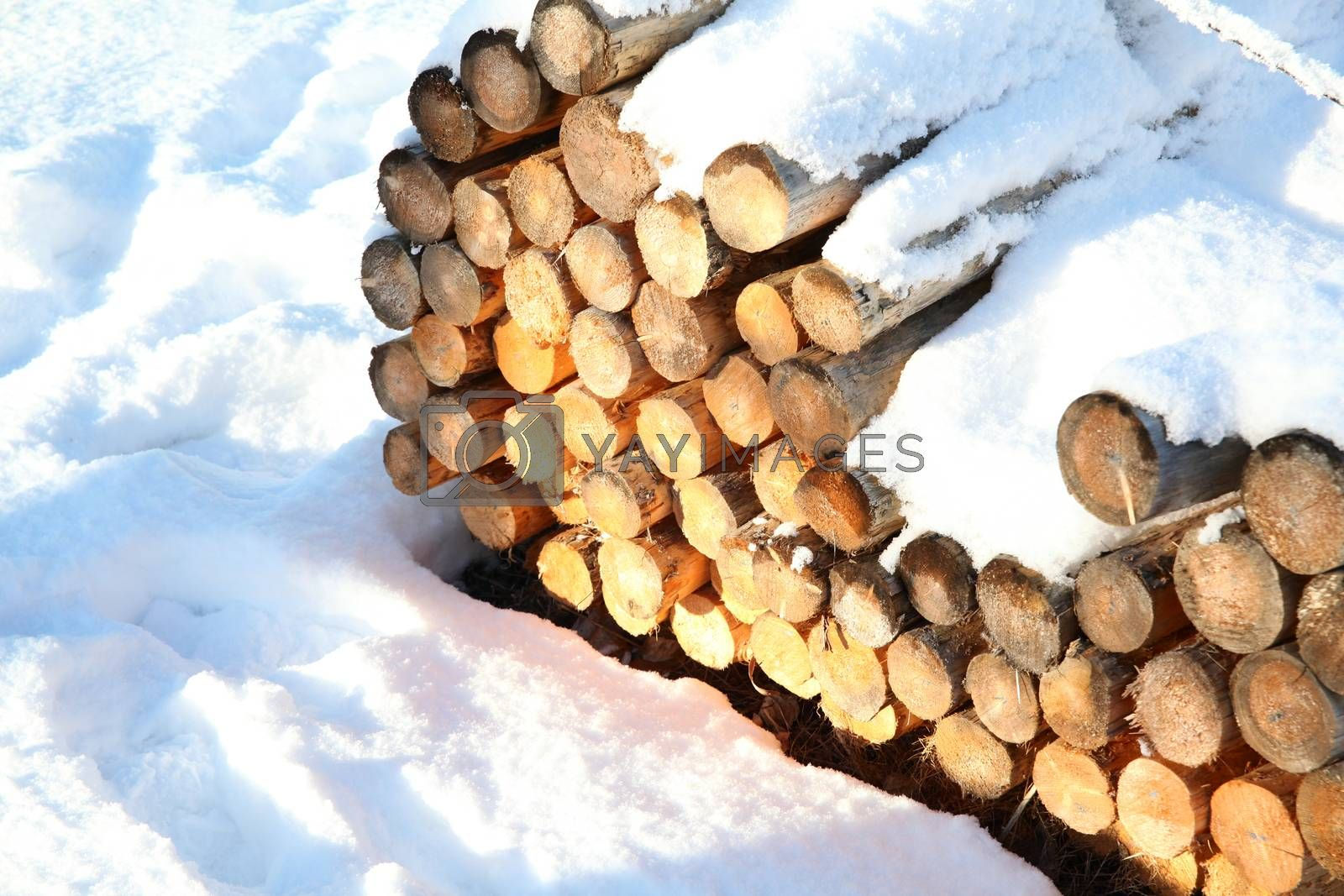 Wood bundle of rails covered in snow