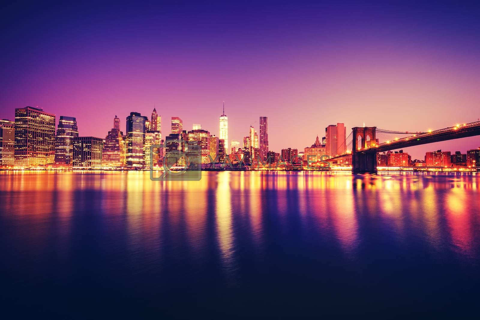 View of Manhattan at sunset, New York City. Special photographic processing.