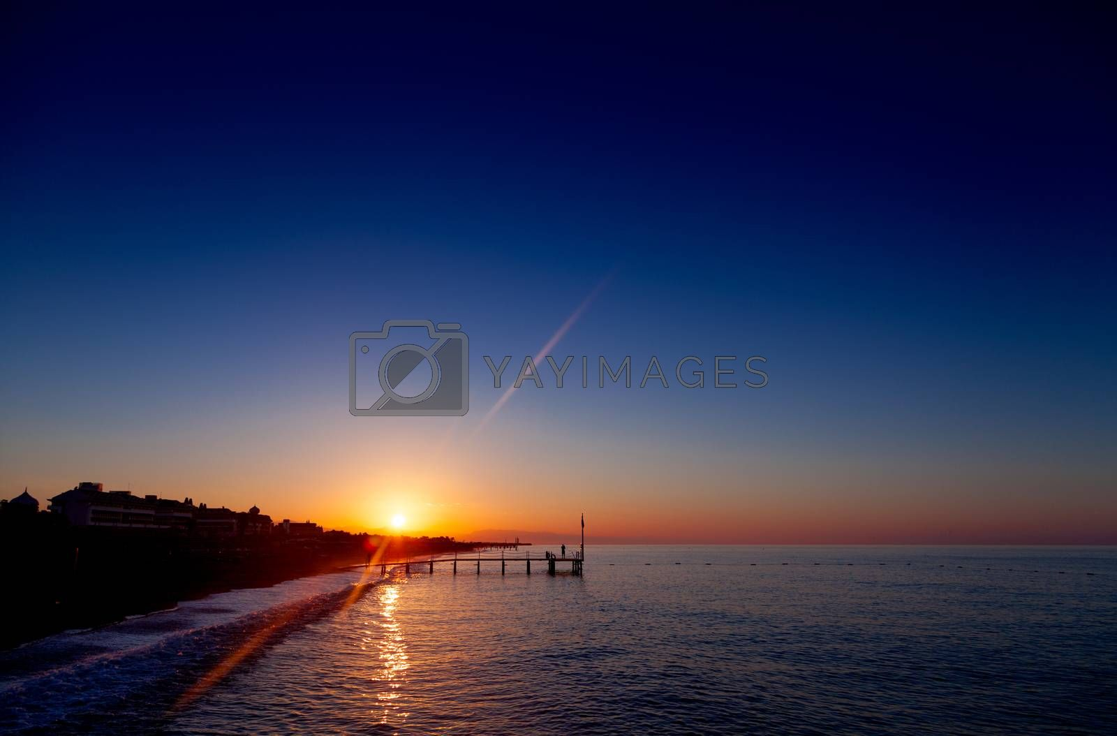 Colorful dawn over the sea in tropic location