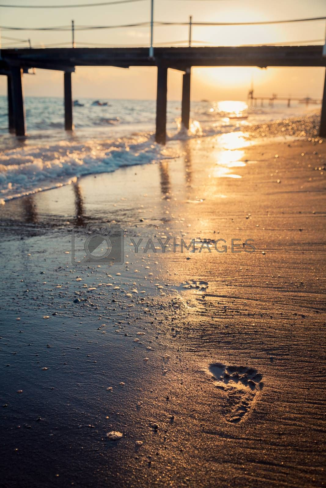 Footprints on the beach in the evening
