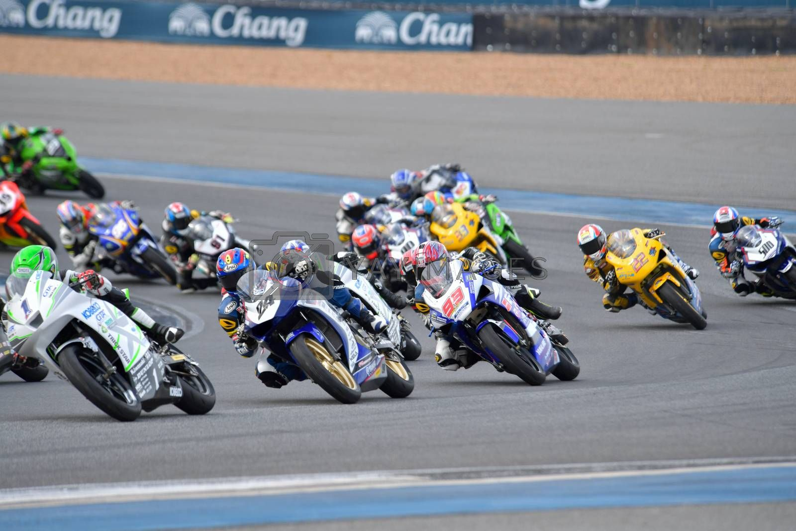 BURIRAM - DECEMBER 4 : Racing motorcycle of Asia Production 250cc. in Asia Road Racing Championship 2016 Round 6 at Chang International Racing Circuit on December 4, 2016, Buriram, Thailand.