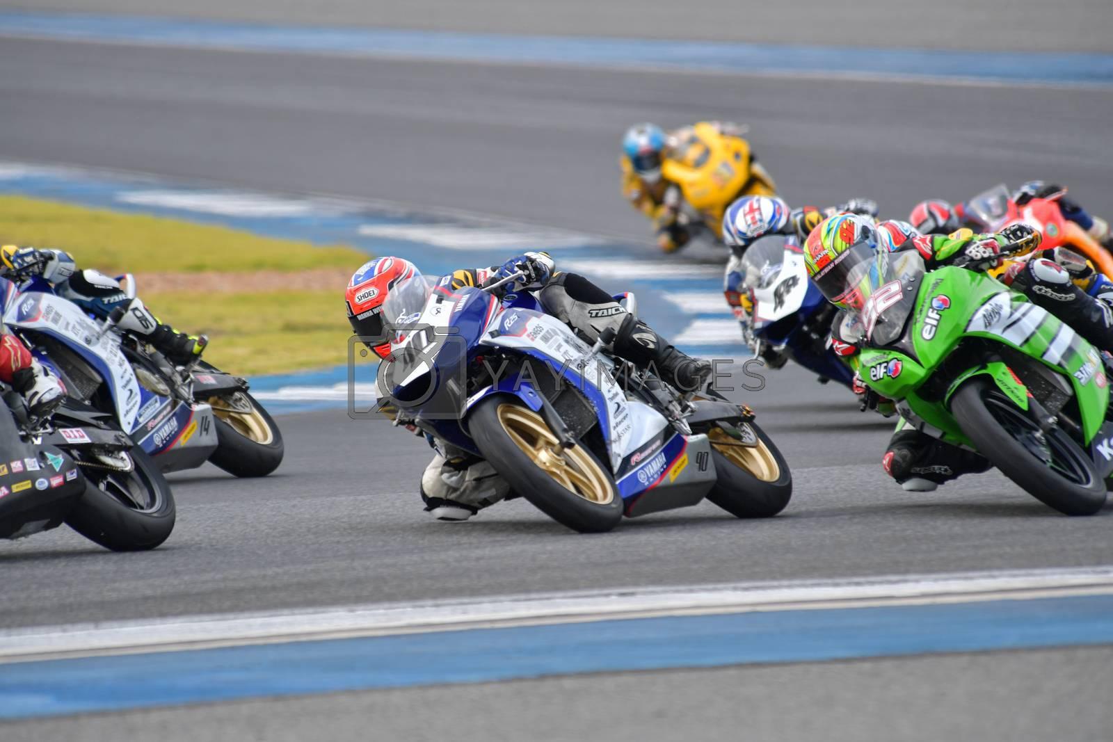 BURIRAM - DECEMBER 4 : Kanalat Jaiman of Thailand with Yamaha motorcycle of Asia Production 250cc. in Asia Road Racing Championship 2016 Round 6 at Chang International Racing Circuit on December 4, 2016, Buriram, Thailand.