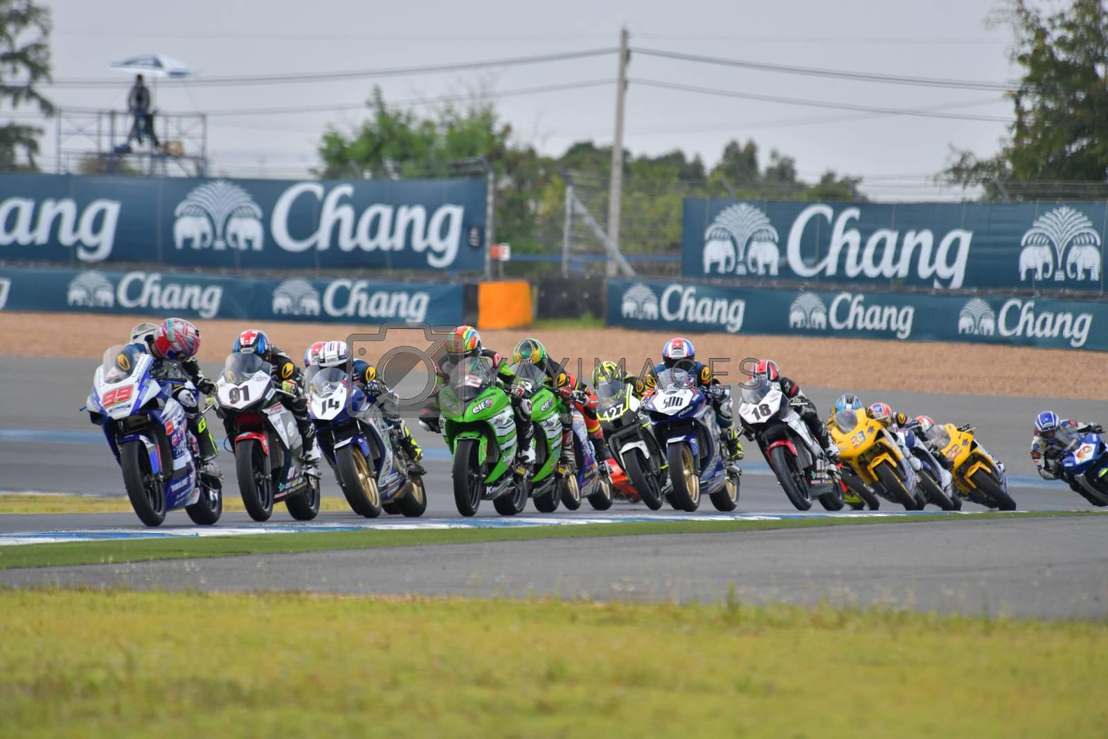 BURIRAM - DECEMBER 4 : Racing motorcycle of Asia Production 250cc. in Asia Road Racing Championship 2016 Round 6 at Chang International Racing Circuit on December 4, 2016, Buriram, Thailand.