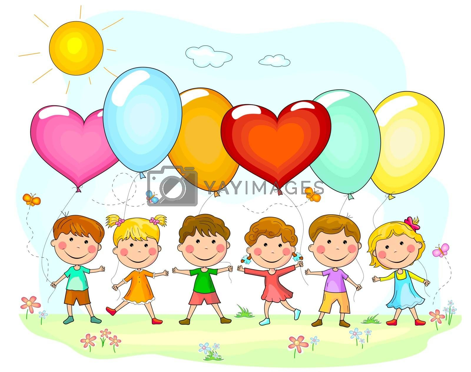 Group of children with balloons. Cartoon kids with balloons in nature.