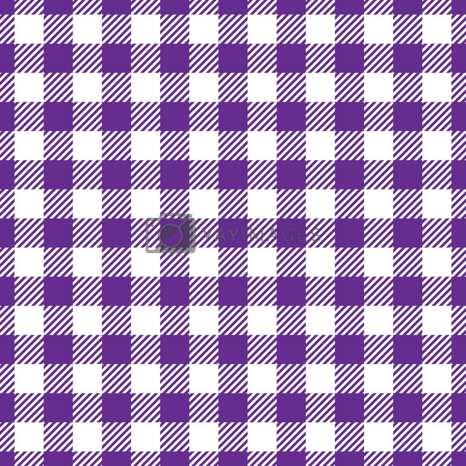 Seamless Violet White Traditional Gingham Pattern Fabric Texture