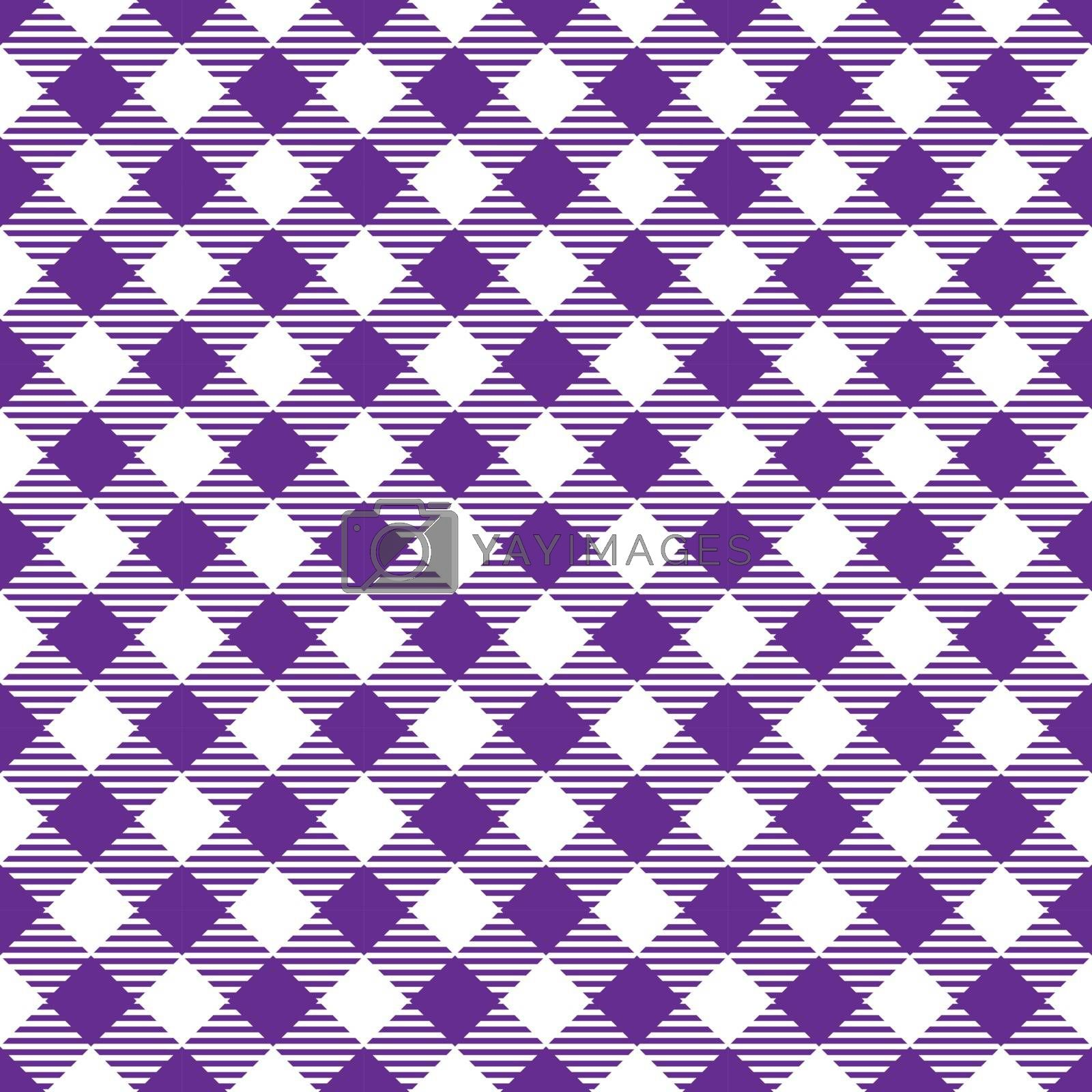 Seamless Viole White Traditional Gingham Pattern Fabric Texture for Design