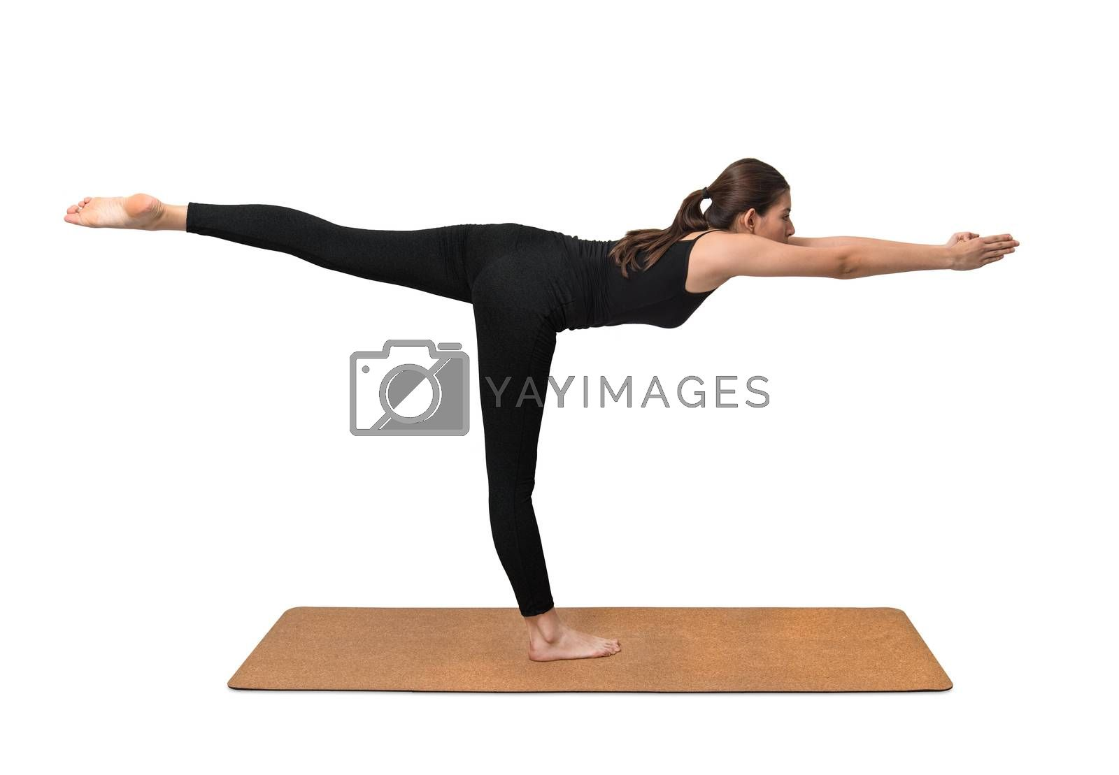 Yoga exercise, young woman pose on yoga mat by praethip
