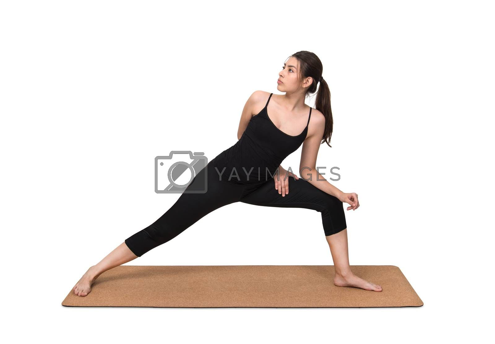 Young woman exercise yoga pose on cork yoga mat on white background