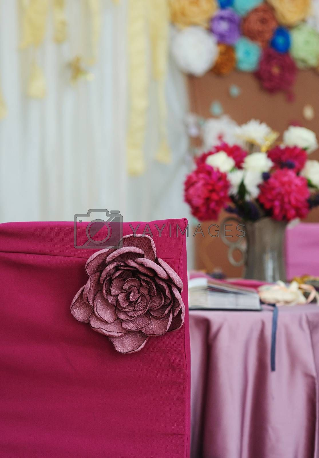 Beautiful decor for a wedding celebration in restaurant by timonko