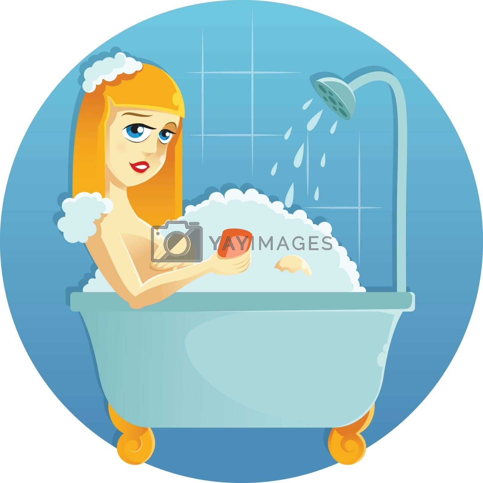 Vector image of a Beauty in the shower