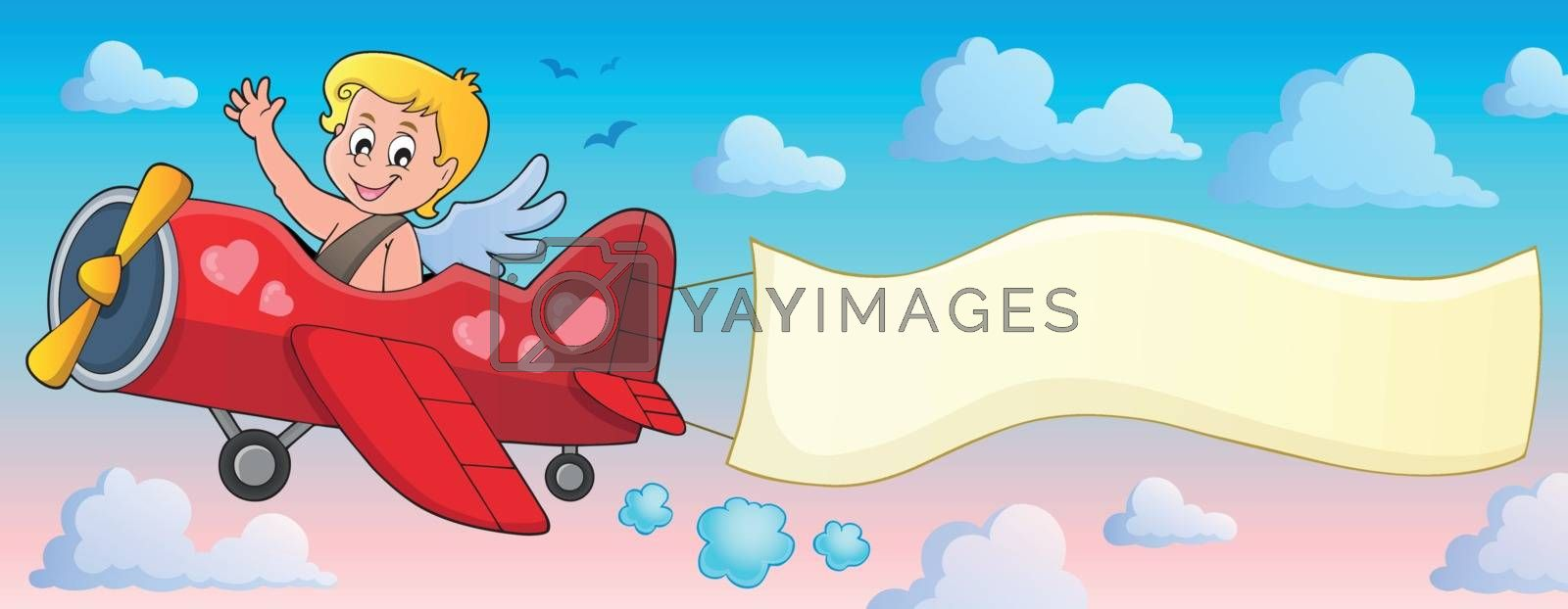 Airplane with Cupid theme image 2 - eps10 vector illustration.