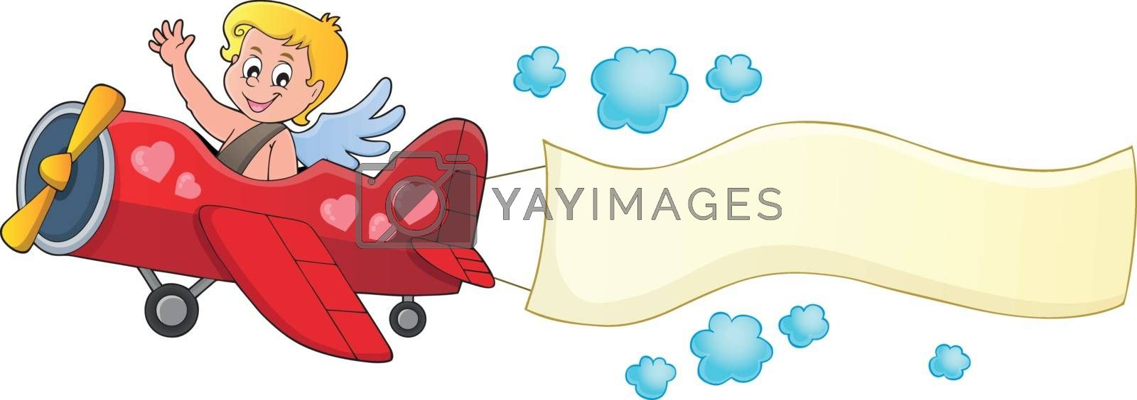 Airplane with Cupid theme image 3 - eps10 vector illustration.