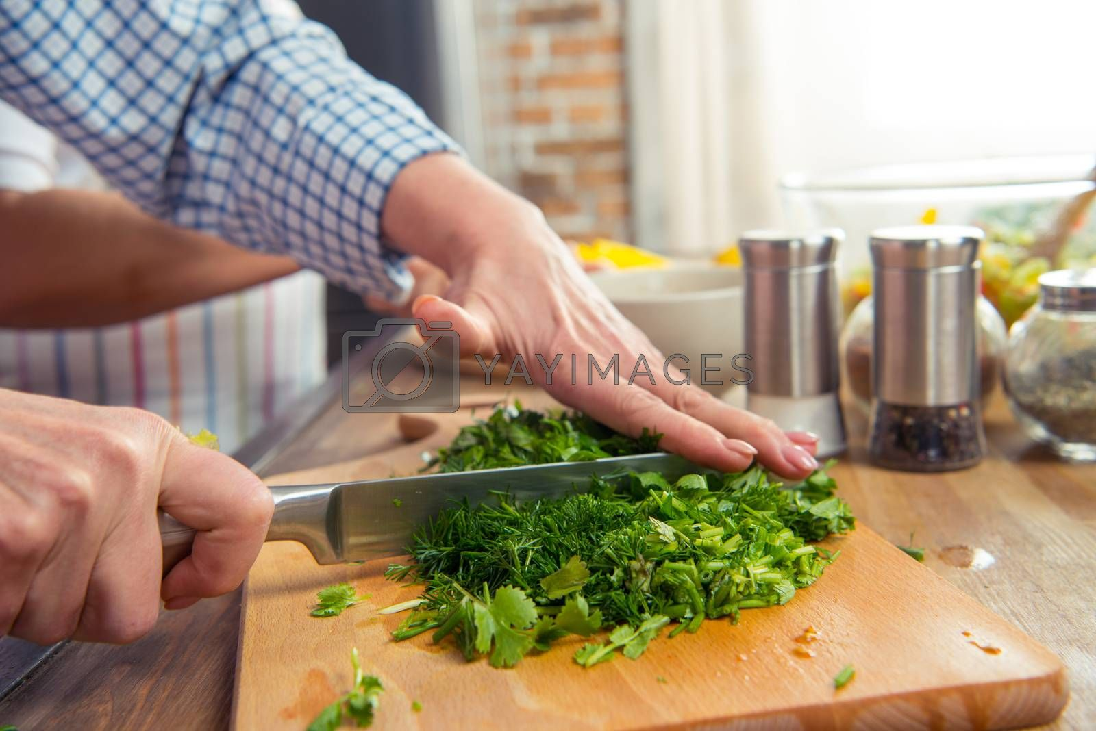 Close-up partial view of woman cutting salad greens