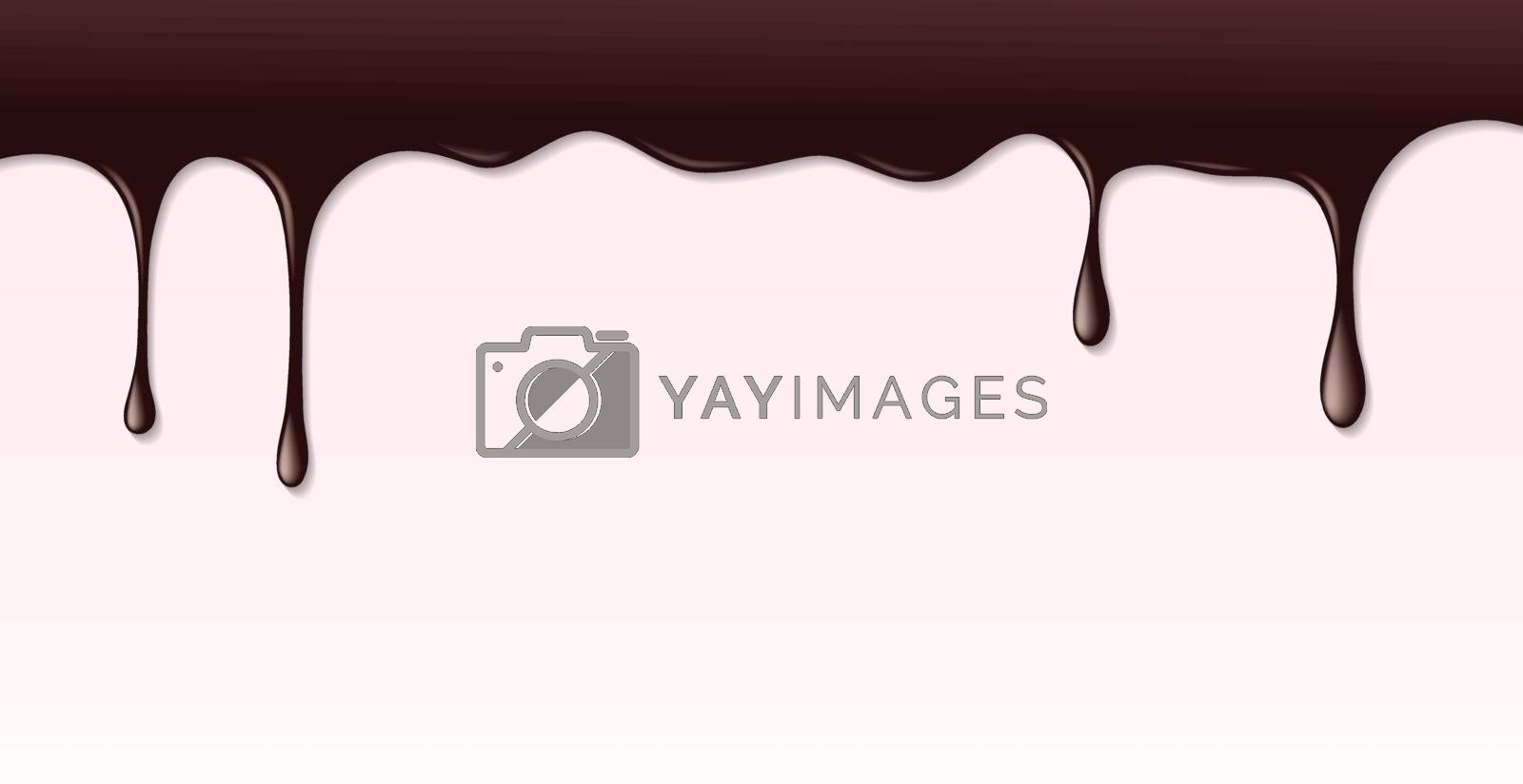 Dark chocolate syrup leaking on pink cake background. Border of hot chocolat texture