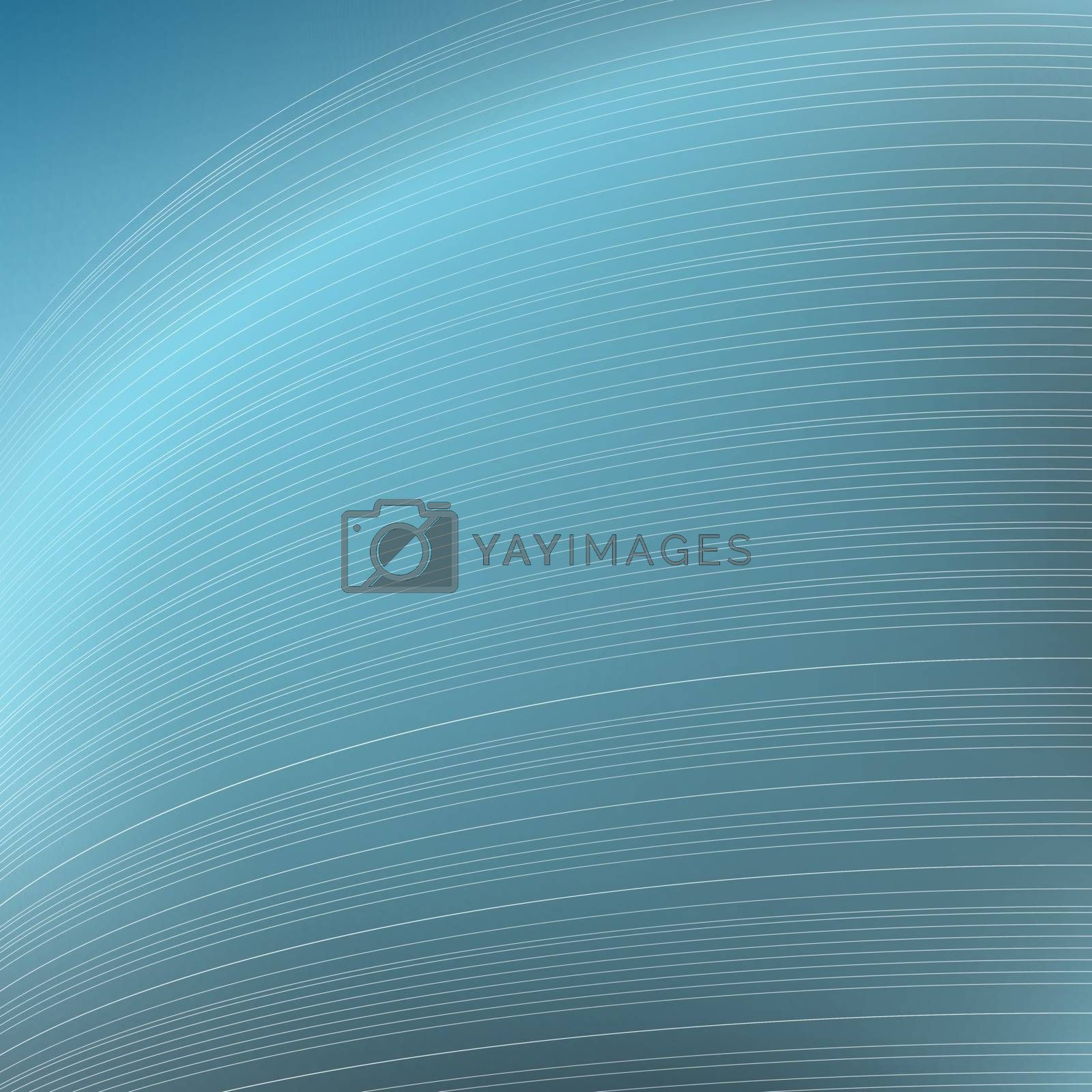 Abstract blue background. Parallel curved strips. Geometric lines in perspective