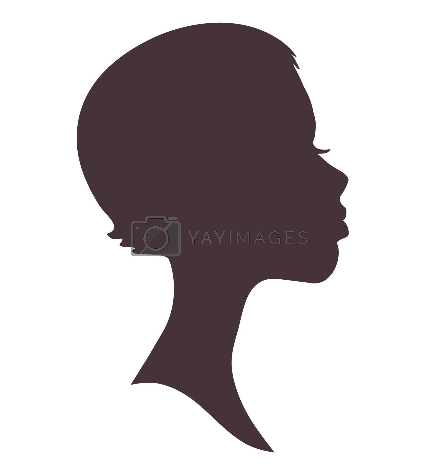 Girl face silhouette. Pretty african woman with short hair and modern hairstyle.