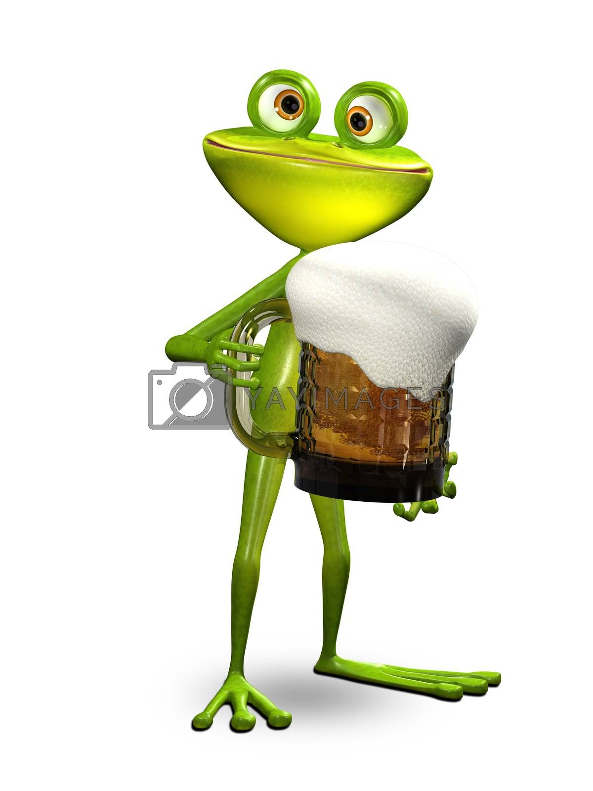 3D Illustration Frog with a Glass of Beer on a White Background