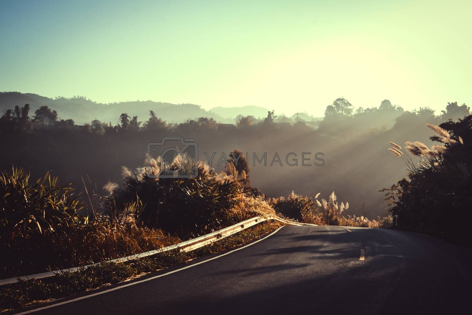 Landscape of mountain and clouds with morning light