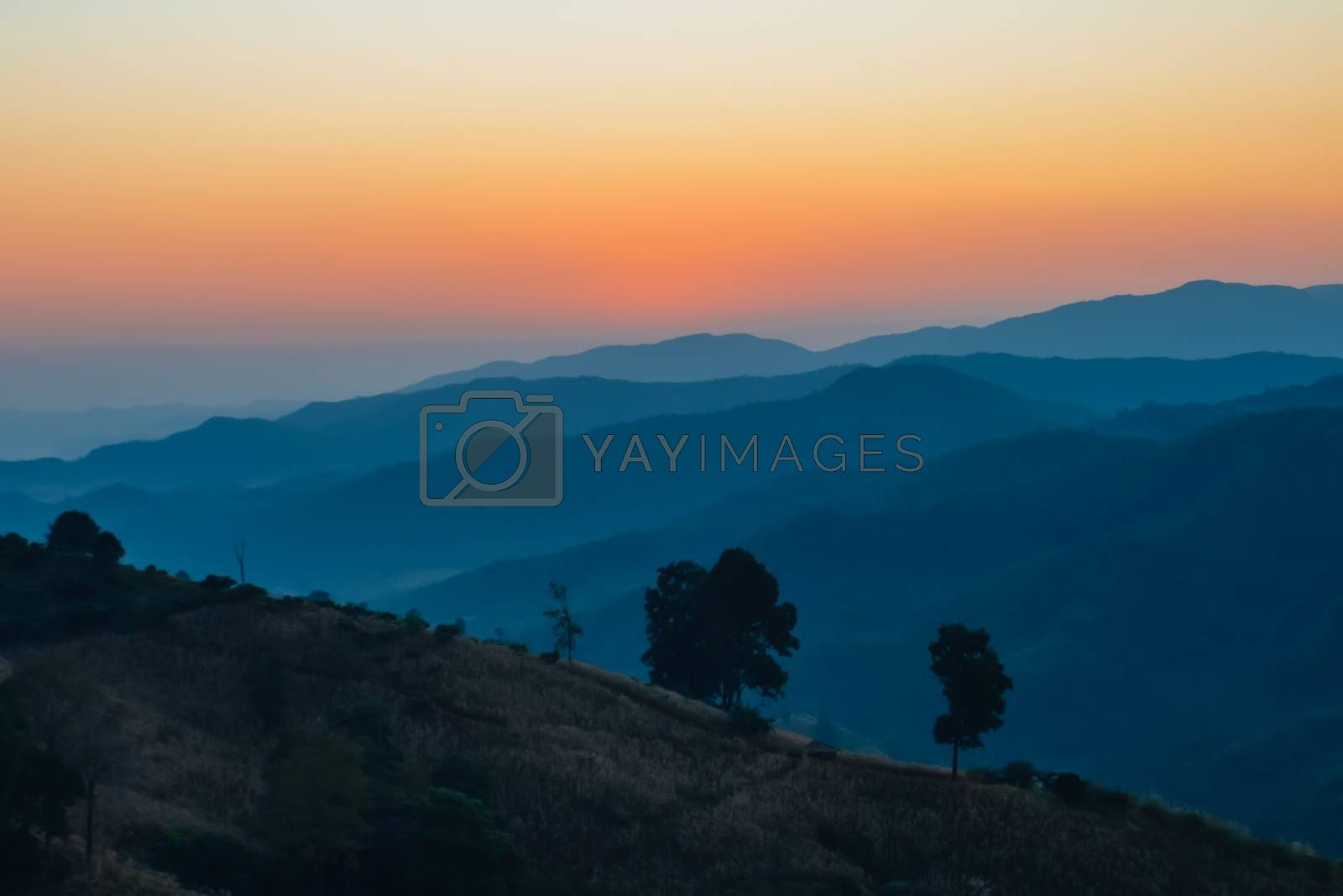 Landscape of Sunrise on mountain with morning light