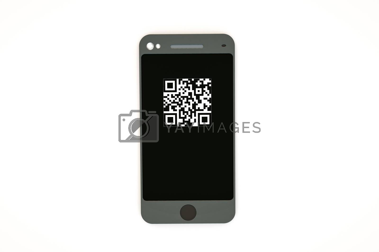 modern smartphone with qr code on sceen