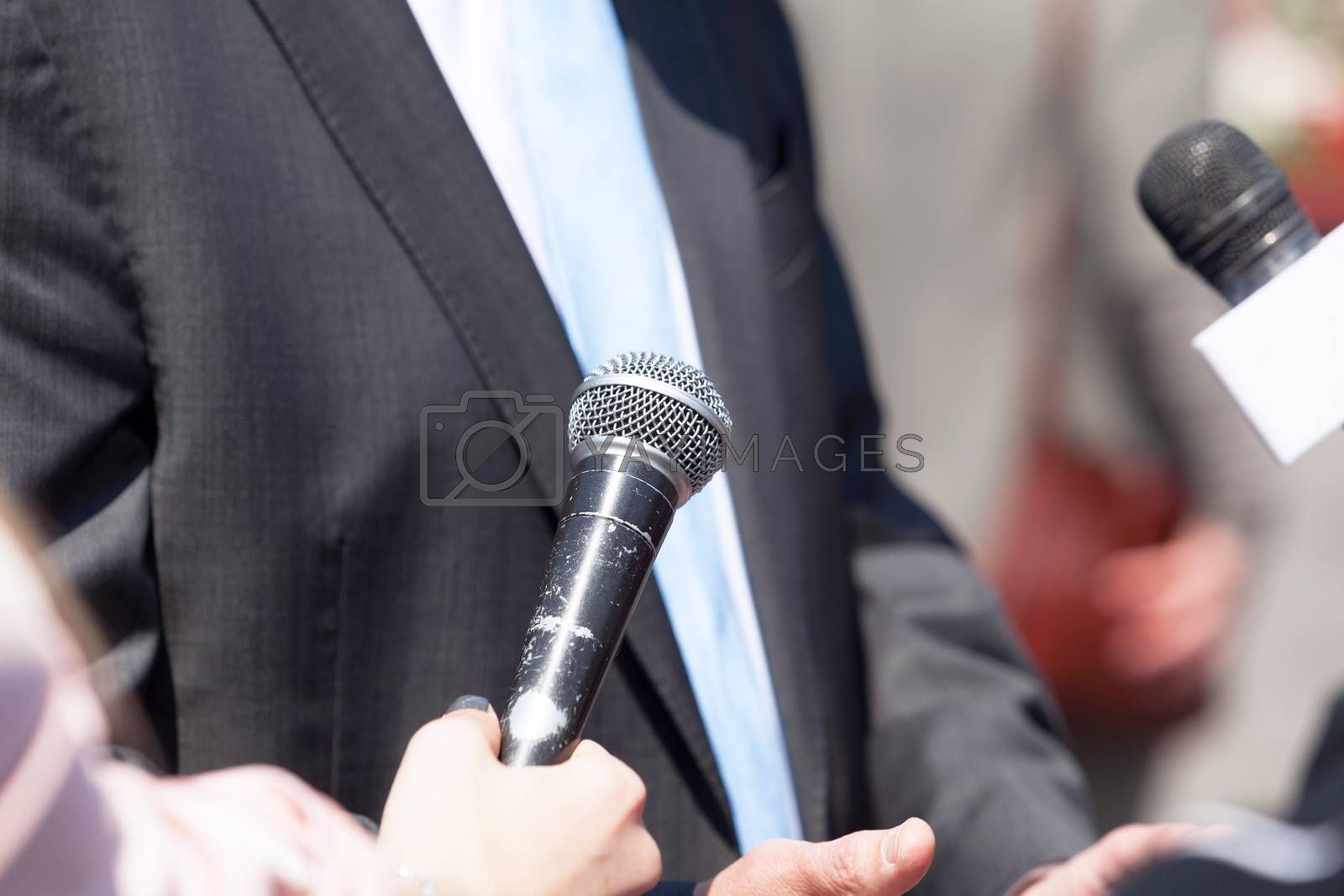 Media interview with businessman or politician