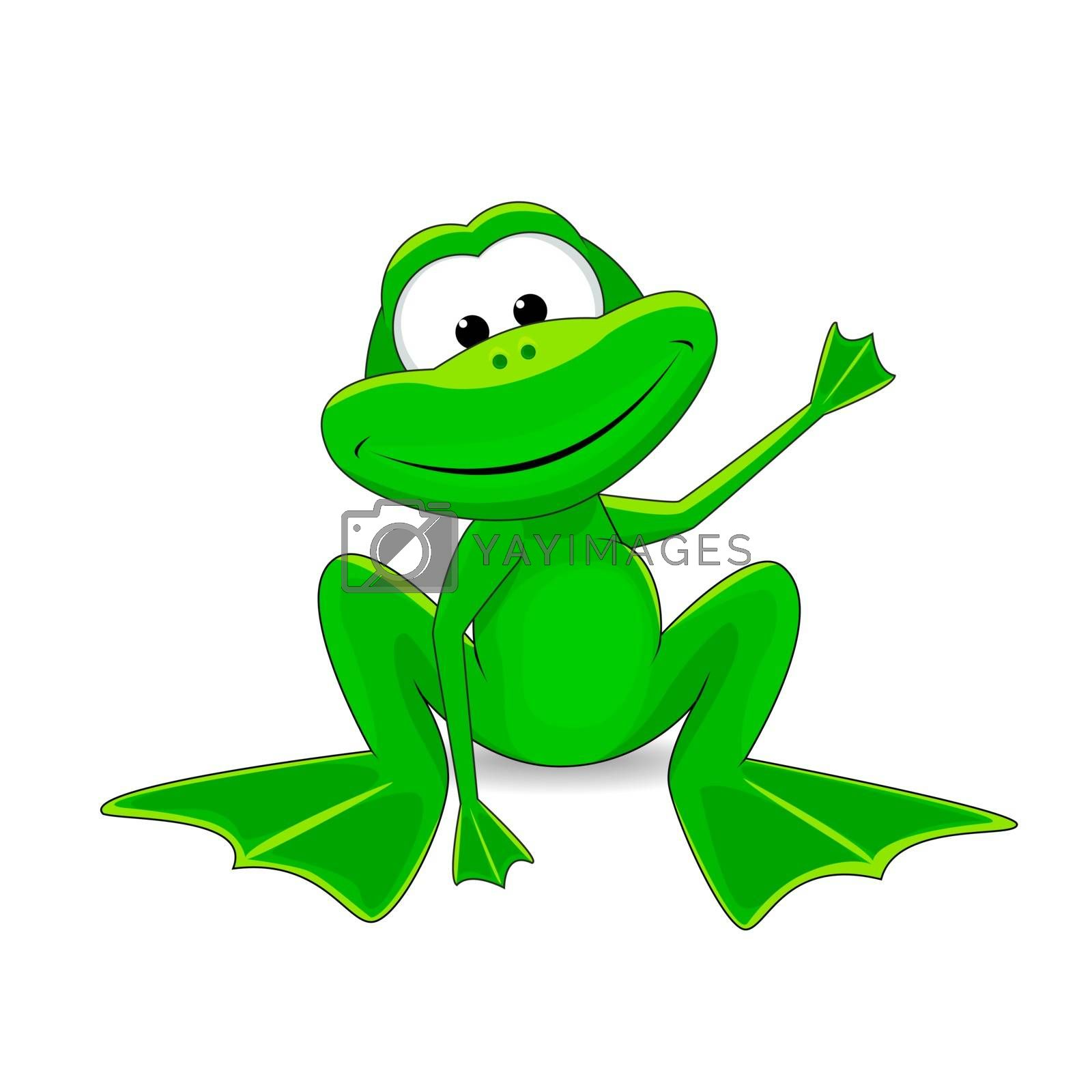Cartoon funny green frog on a white background. Little green frog.