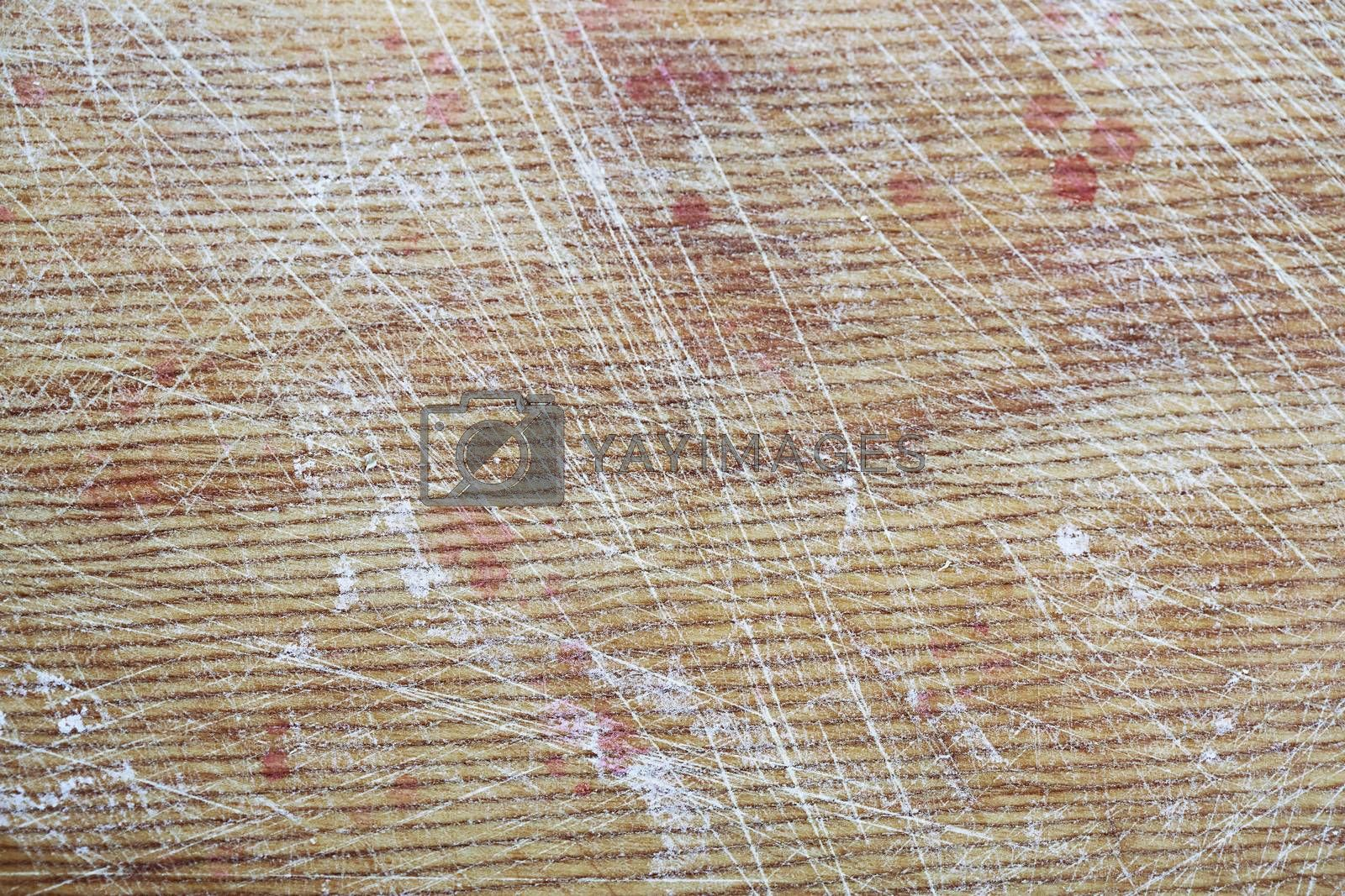 Texture of the scratched wood with blood stains