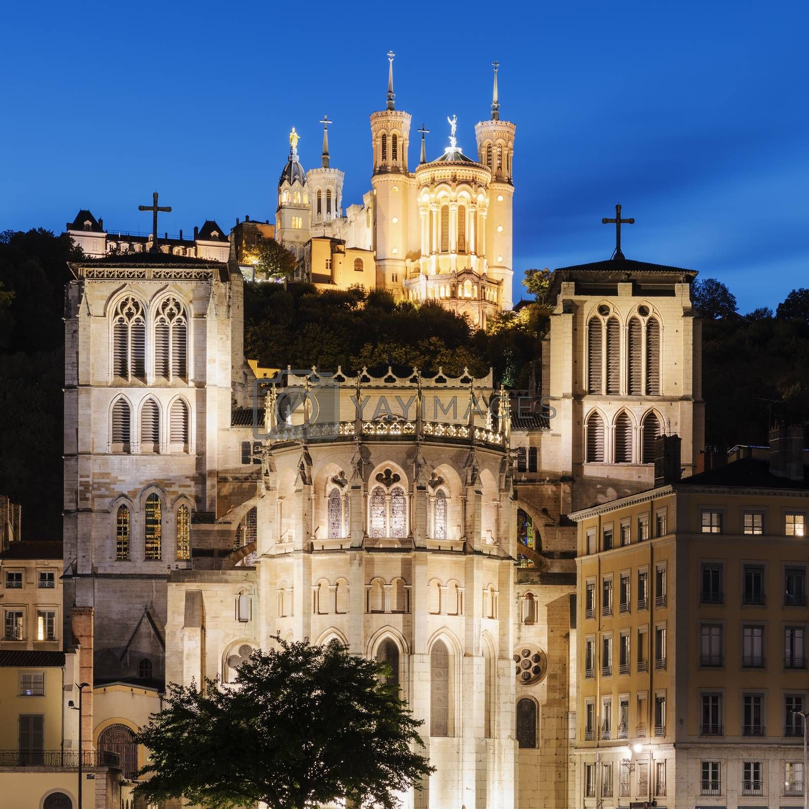 Cathedral of St. Jean and The Basilica Notre Dame de fourviere in Lyon, France at night