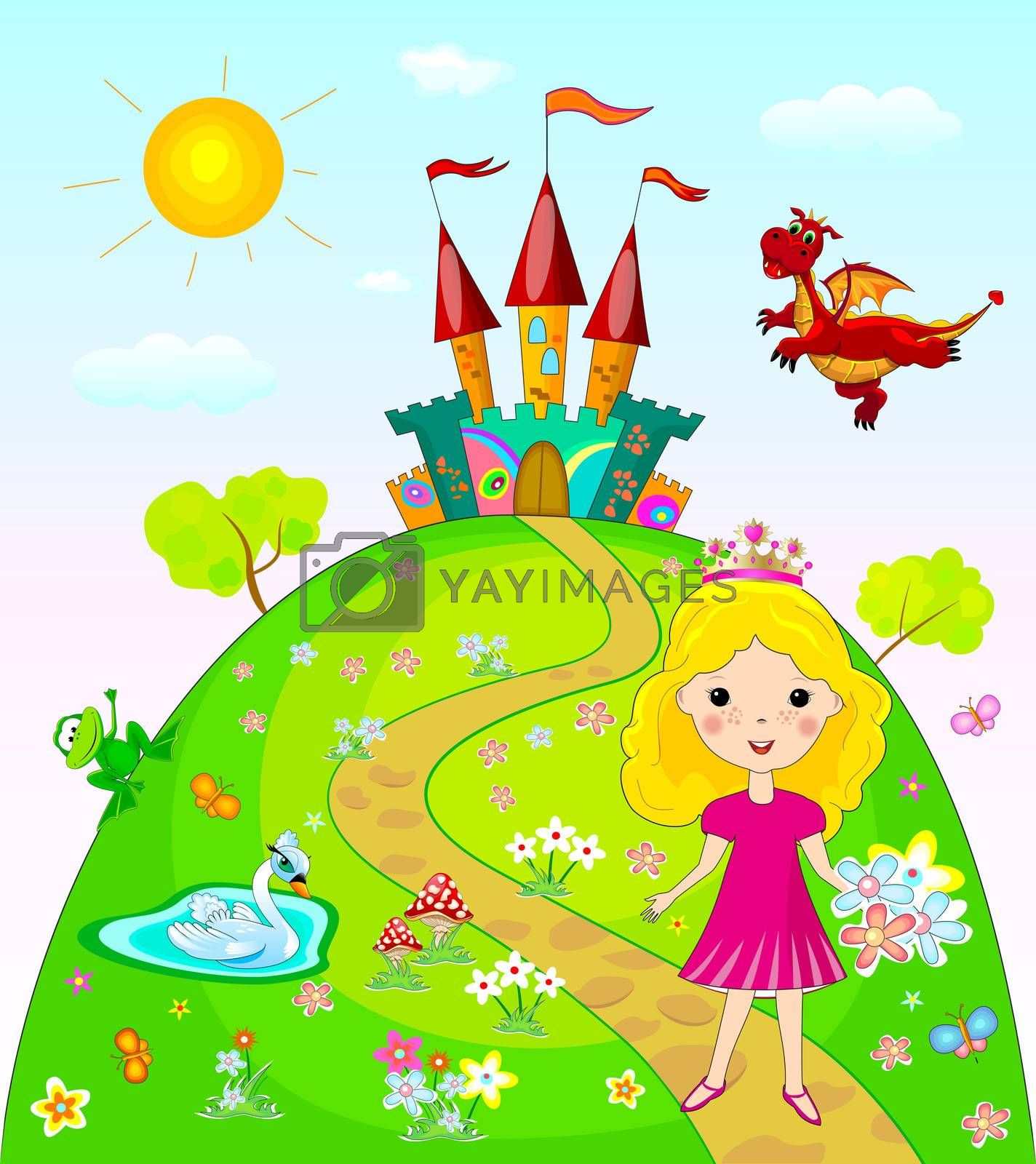 Little princess goes on a footpath. Landscape with the castle, trees and flowers. Fairy dragon, swan and frog.