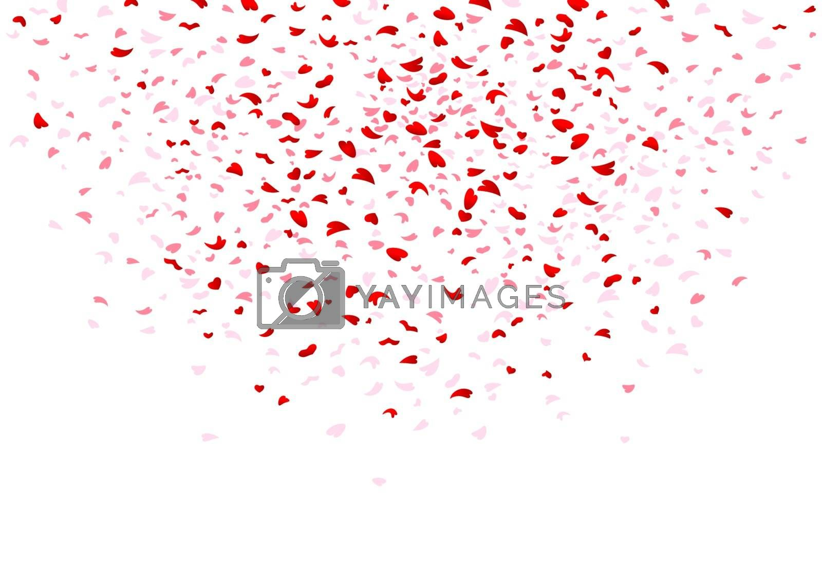 Background of red and pink hearts. Hearts like confetti. Red and pink hearts on a white background. Decorative background for Valentine's Day.