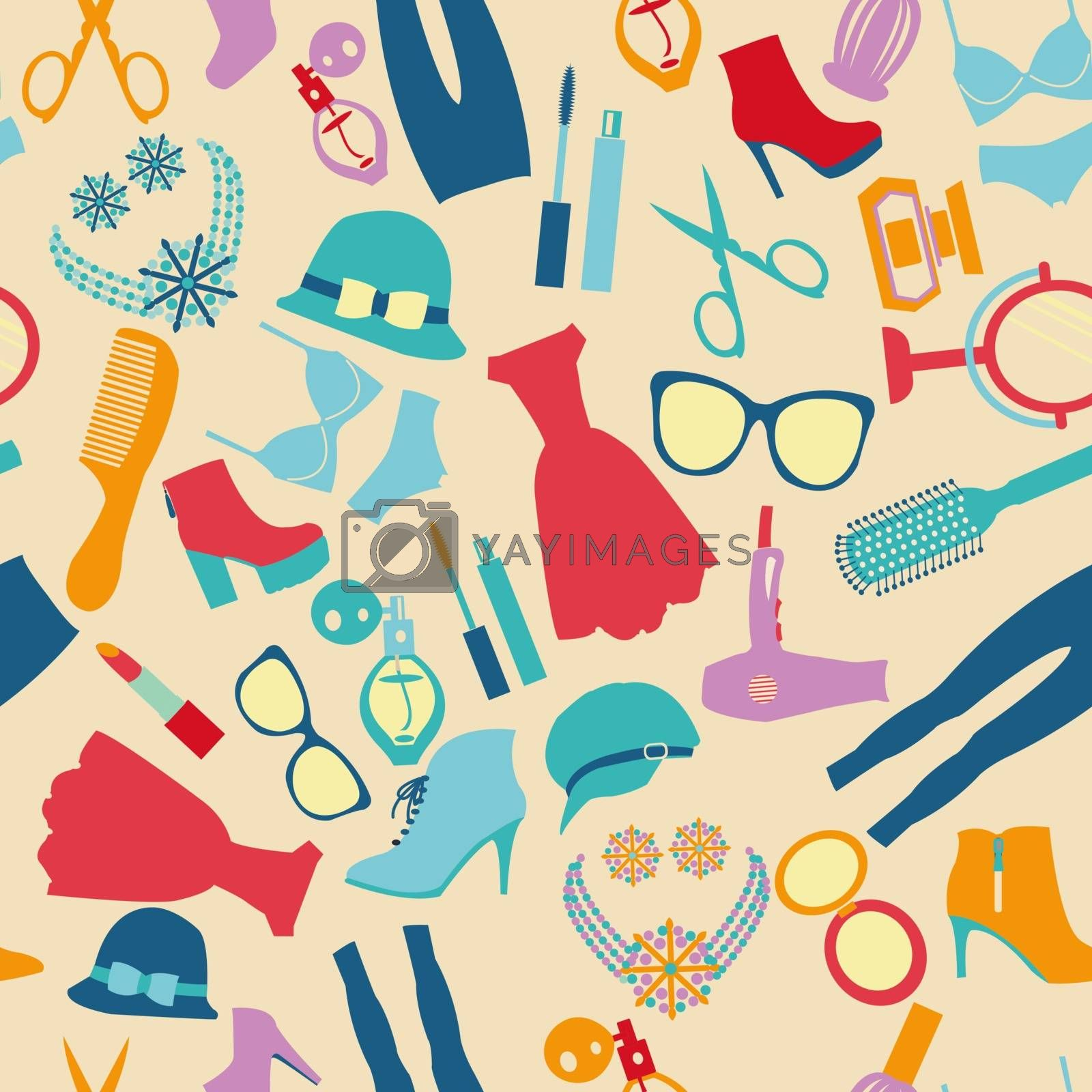 Vector of fashion and clothes accessories seamless pattern- illustration