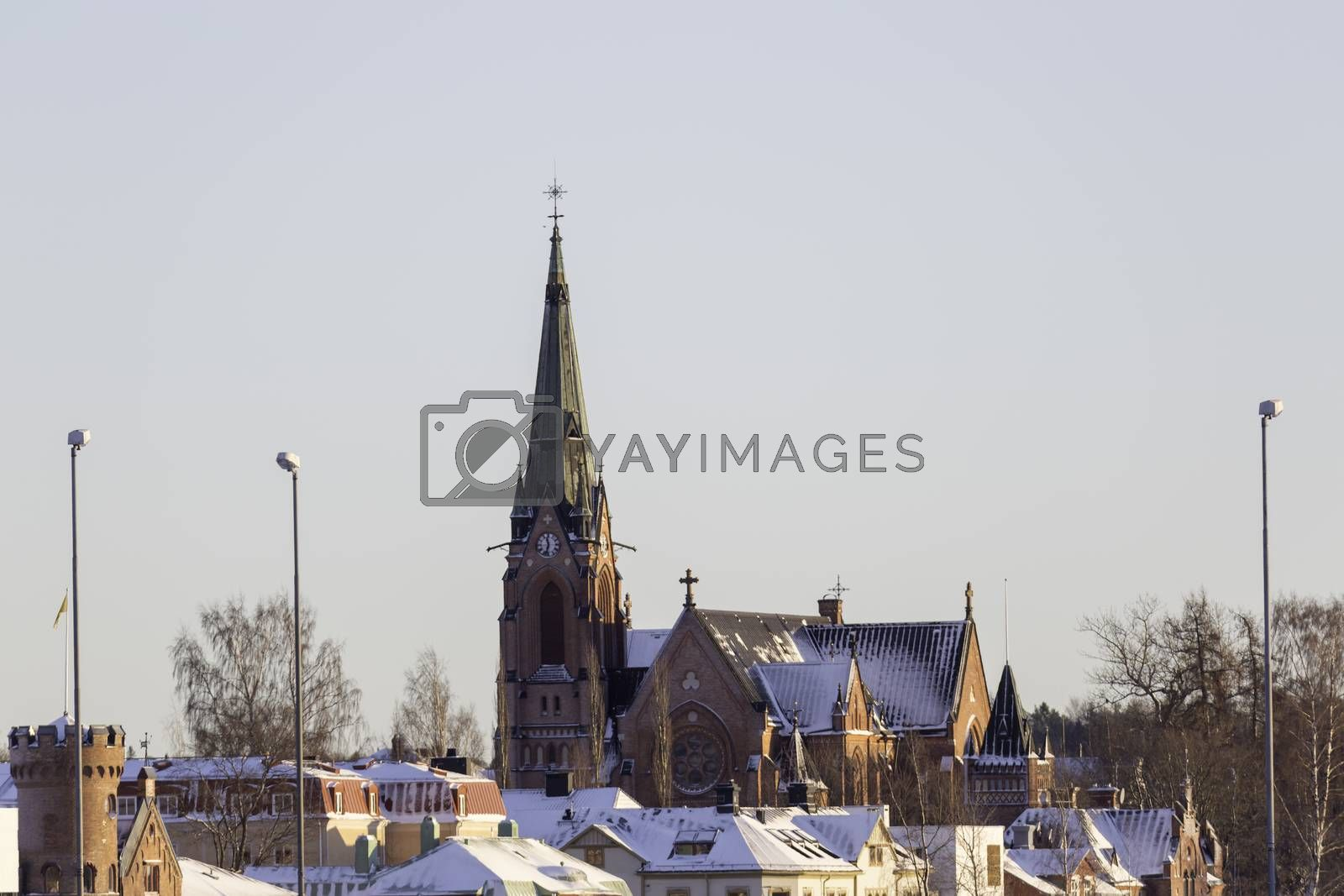 City Church in Umea, Sweden in winter with snow.