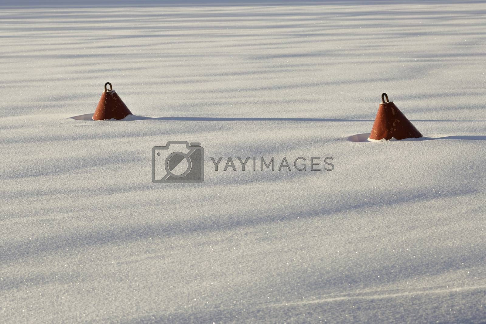 Red Buoy in frozen Water  by Emmoth