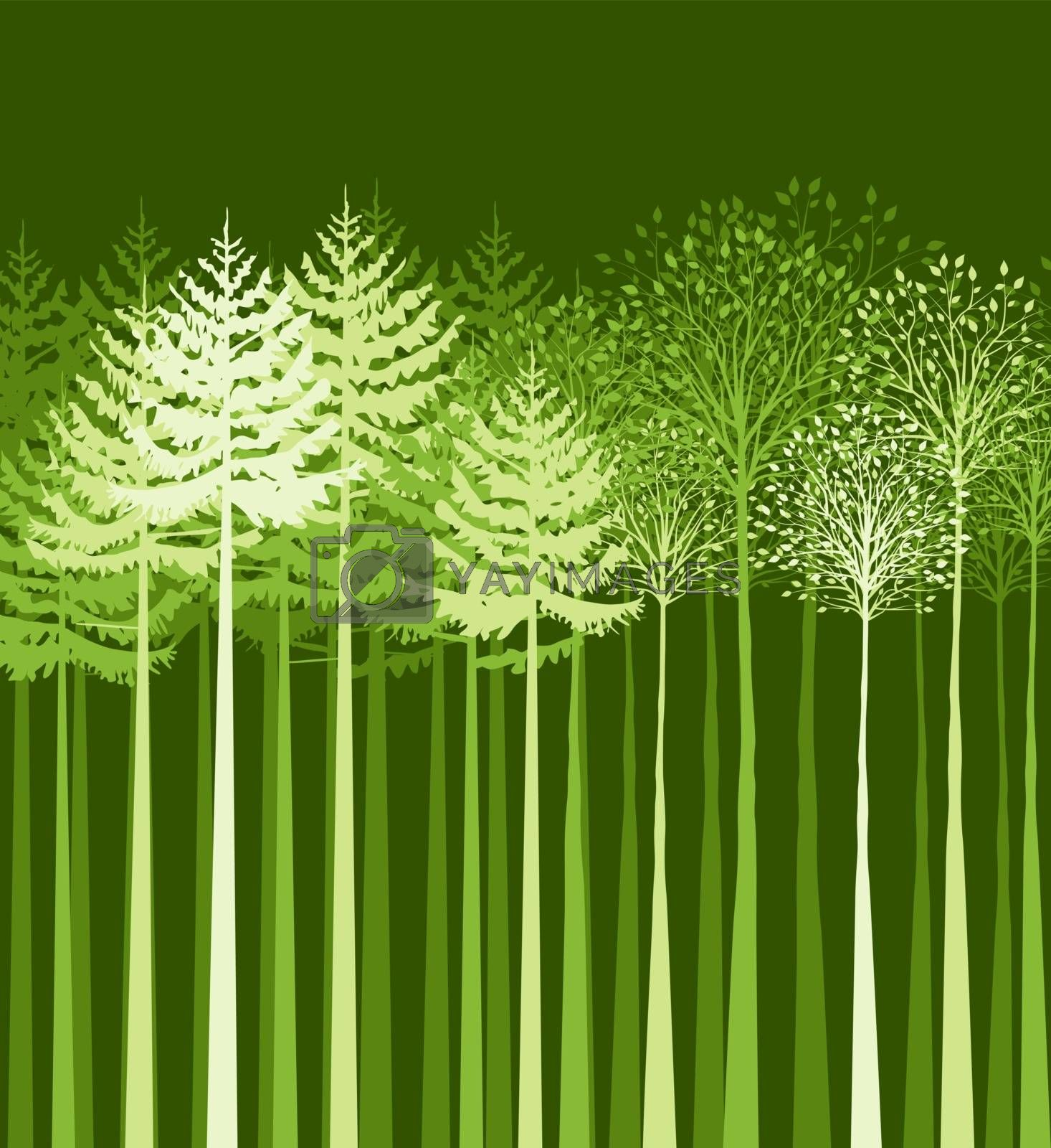 Vectors background landscape with trees, mixed forest