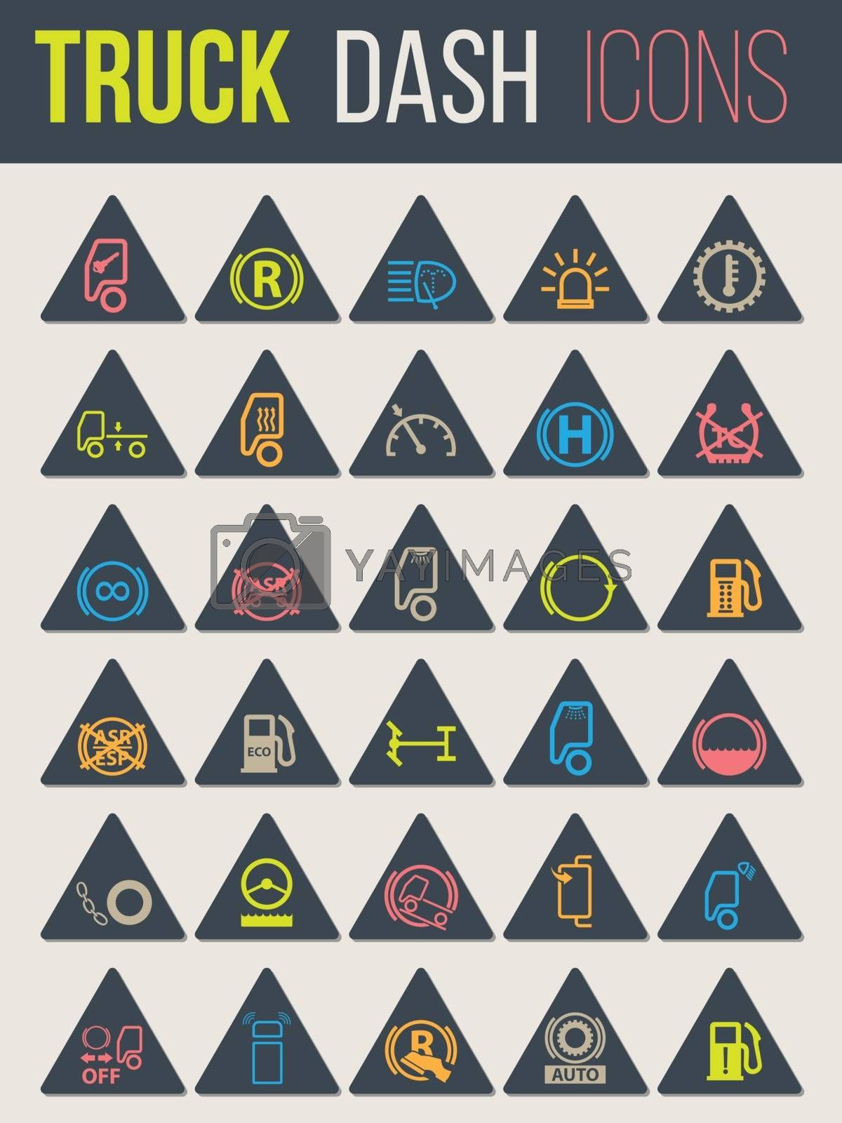 Colorful icon set of thirty for truck dashboards 5