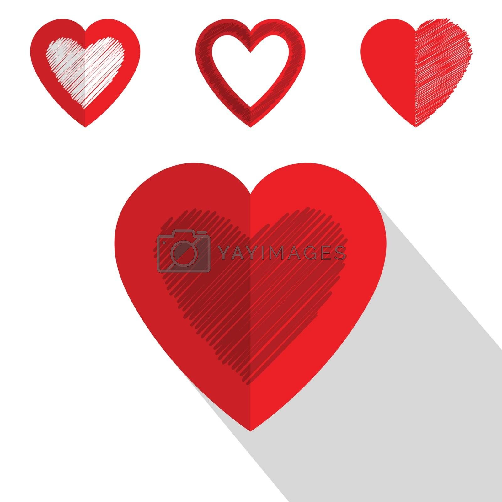 Valentine day heart icon flat style design shadow
