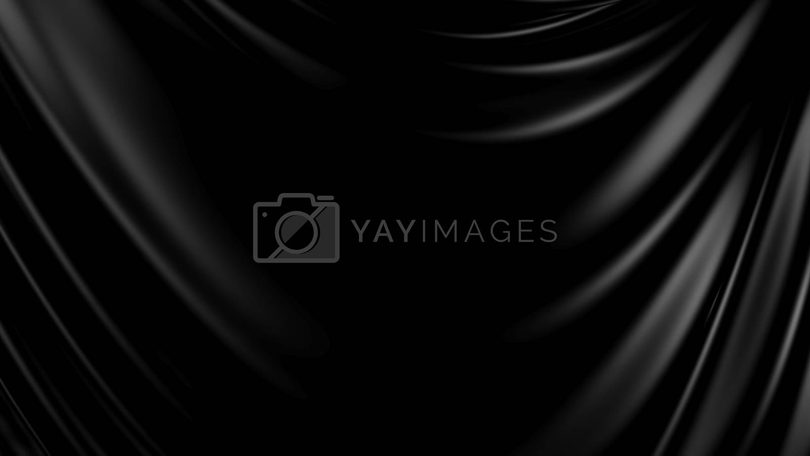 3D Illustration Abstract Black Background Silk Cloth