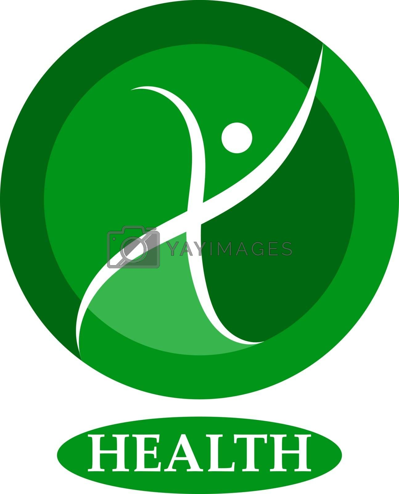 Health human character - vector logo template. Sport fitness concept illustration. Creative sign. Happiness freedom icon. Design element.