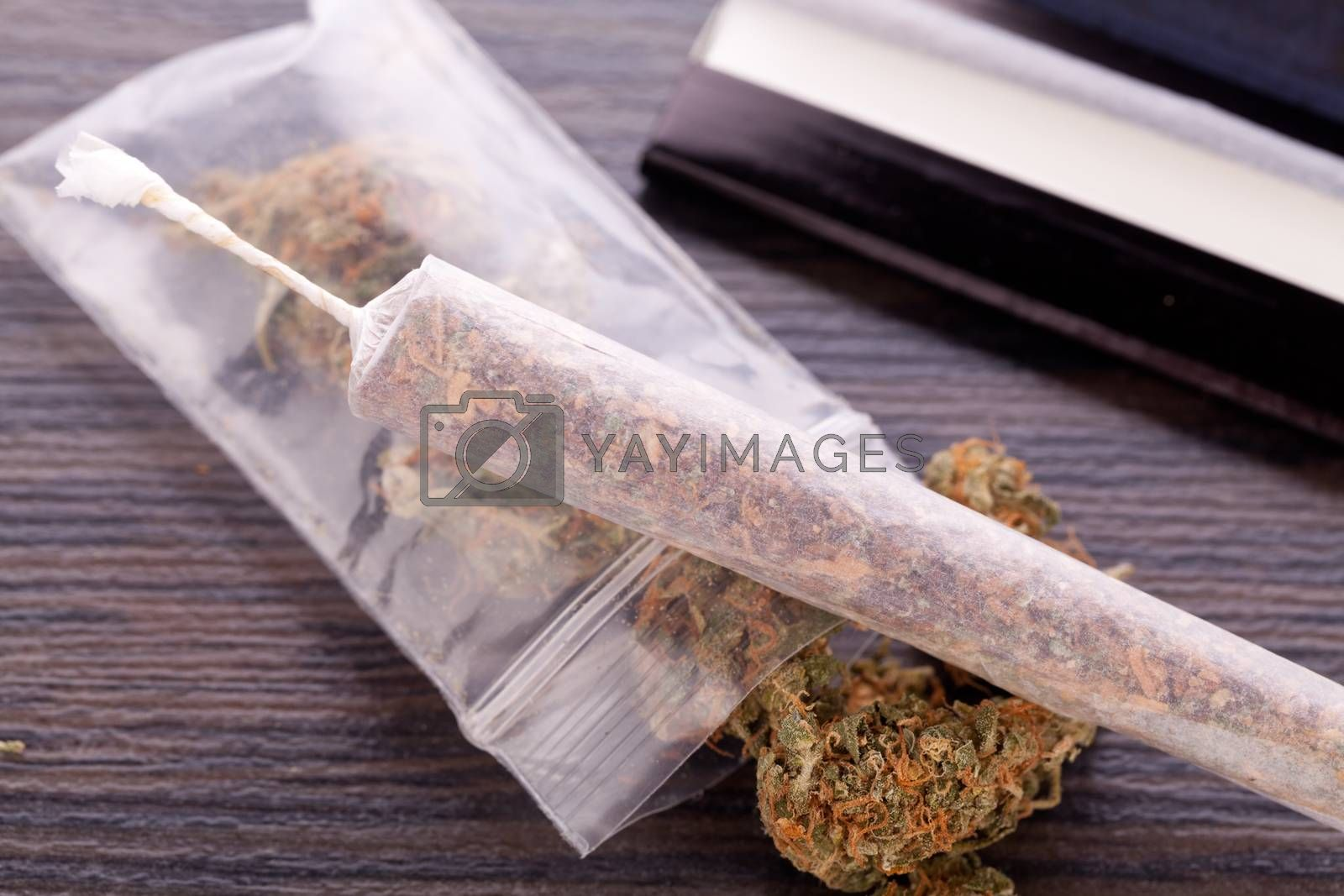 Close up Dried Cannabis Leaves on a Resealable Cellophane Wrapper and a Rolling Paper with Filter on Top of the Table
