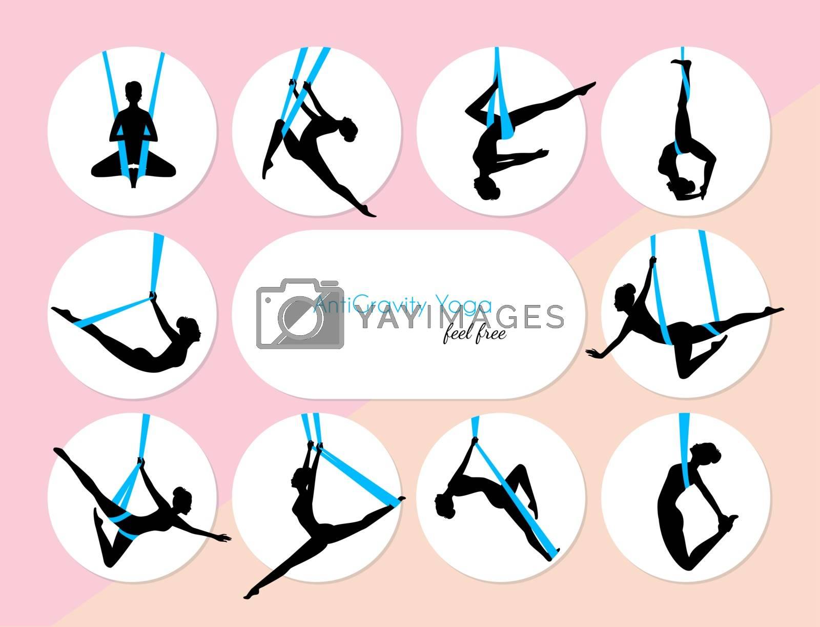 Vector illustration of 10 Anti-Gravity yoga girls